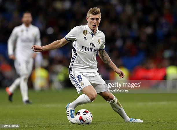 Toni Kroos of Real Madrid in action during the Copa del Rey quarterfinal first leg match between Real Madrid CF and Celta de Vigo at Estadio Santiago...