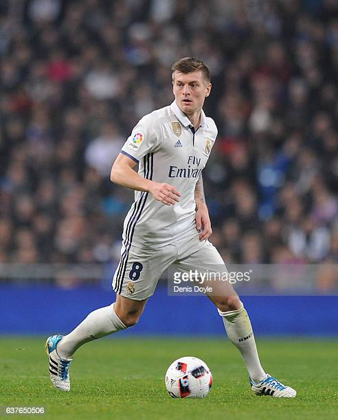 Toni Kroos of Real Madrid in action during the Copa del Rey Round of 16 First Leg match between Real Madrid and Sevilla at Bernabeu on January 4 2017...