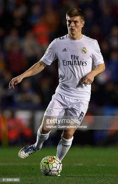 Toni Kroos of Real Madrid in action during the La Liga match between Levante UD and Real Madrid at Ciutat de Valencia on March 02 2016 in Valencia...