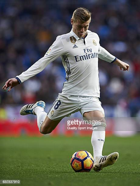 Toni Kroos of Real Madrid in action during the La Liga match between Real Madrid CF and Malaga CF at Estadio Santiago Bernabeu on January 21 2017 in...