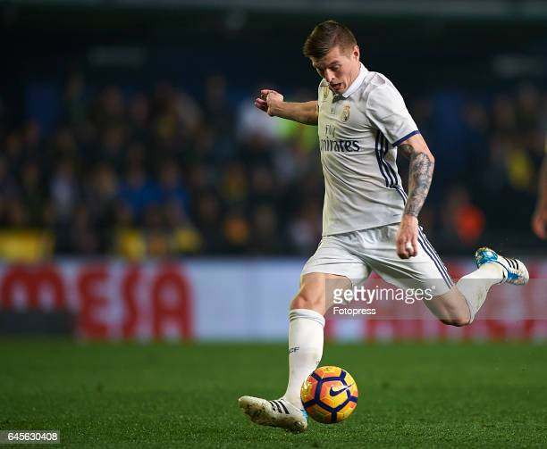 Toni Kroos of Real Madrid in action during the La Liga match between Villarreal CF and Real Madrid at Estadio de la Ceramica on February 26 2017 in...