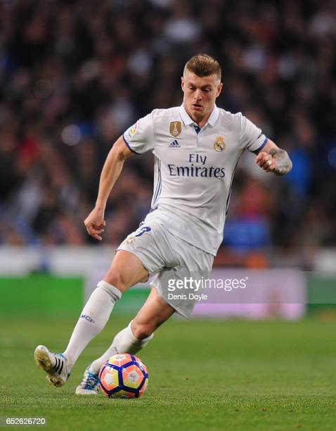 Toni Kroos of Real Madrid in action during the La Liga match between Real Madrid CF and Real Betis Balompie at Estadio Santiago Bernabeu on March 12...