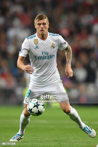 Toni Kroos of Real Madrid in action during the UEFA Champions League group H match between Real Madrid and Tottenham Hotspur at Estadio Santiago...