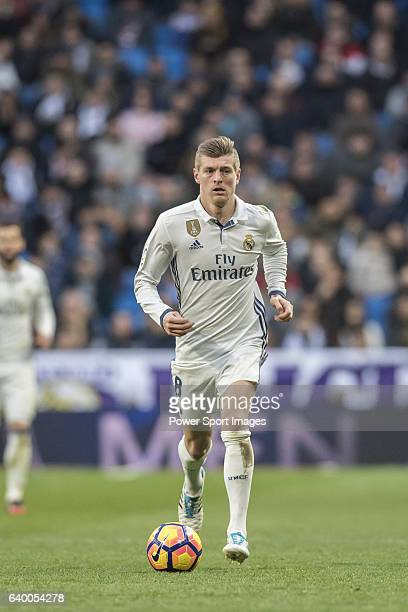 Toni Kroos of Real Madrid in action during their La Liga 201617 match between Real Madrid and Malaga CF at the Estadio Santiago Bernabéu on 21...