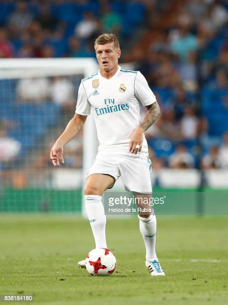 Toni Kroos of Real Madrid in actions during the match Trofeo Santiago Bernabeu between Real Madrid CF and Fiorentina at Santiago Bernabeu Stadium on...
