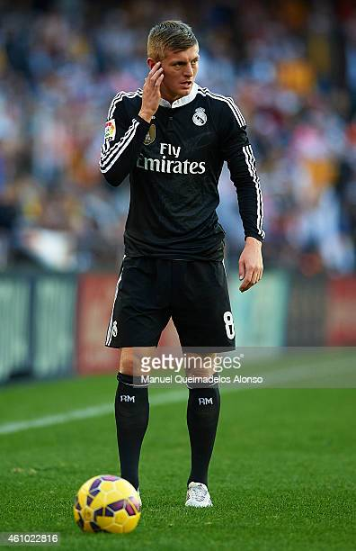 Toni Kroos of Real Madrid looks on during the La Liga match between Valencia CF and Real Madrid CF at Estadi de Mestalla on January 4 2015 in...
