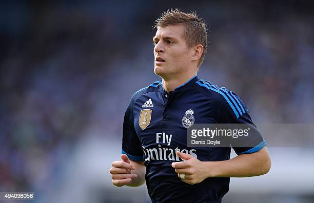 Toni Kroos of Real Madrid looks on during the La Liga match between Celta Vigo and Real Madrid at Estadio Balaidos on October 24 2015 in Vigo Spain