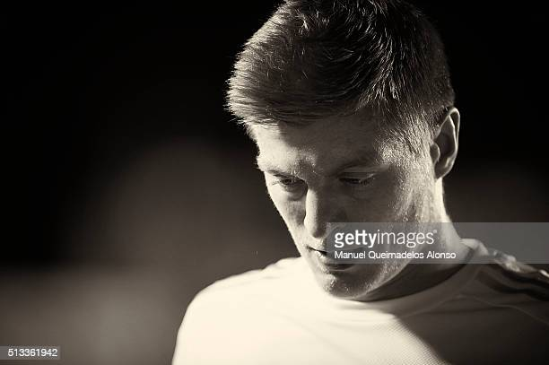 Toni Kroos of Real Madrid looks on during the La Liga match between Levante UD and Real Madrid at Ciutat de Valencia on March 02 2016 in Valencia...