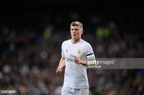 Toni Kroos of Real Madrid looks on during the La Liga match between Real Madrid CF and Sevilla FC at Estadio Santiago Bernabeu on March 20 2016 in...