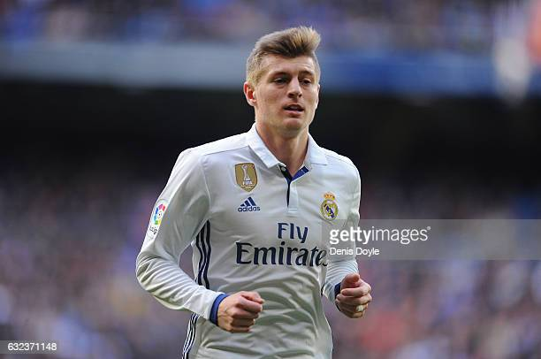 Toni Kroos of Real Madrid looks on during the La Liga match between Real Madrid CF and Malaga CF at the Bernabeu on January 21 2017 in Madrid Spain