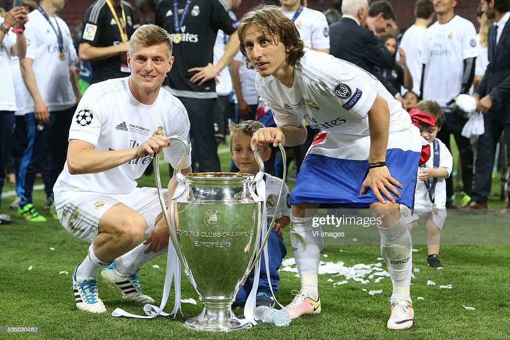 Toni Kroos of Real Madrid, Luka Modric of Real Madrid during the UEFA Champions League final match between Real Madrid and Atletico Madrid on May 28, 2016 at the Giuseppe Meazza San Siro stadium in Milan, Italy.