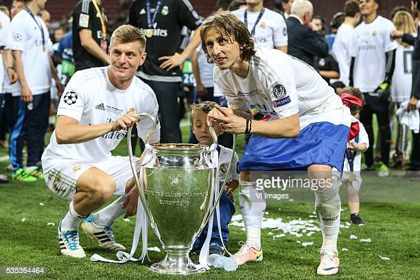 Toni Kroos of Real Madrid Luka Modric of Real Madrid during the UEFA Champions League final match between Real Madrid and Atletico Madrid on May 28...