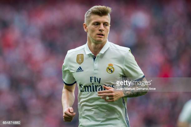 Toni Kroos of Real Madrid reacts during the La Liga match between Athletic Club Bilbao and Real Madrid at San Mames Stadium on March 18 2017 in...