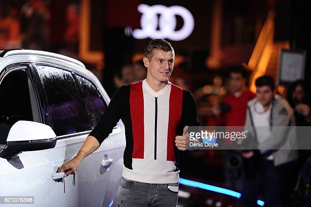 Toni Kroos of Real Madrid smiles before getting into his new Audi car for the 2016/2017 season at Carlos Sainz Center on November 4 2016 in Madrid...