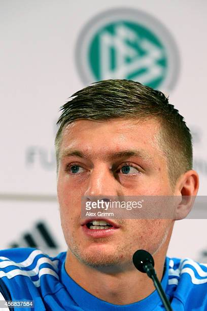 Toni Kroos talks to the media during a press conference at Commerzbank Arena on October 8 2014 in Frankfurt am Main Germany
