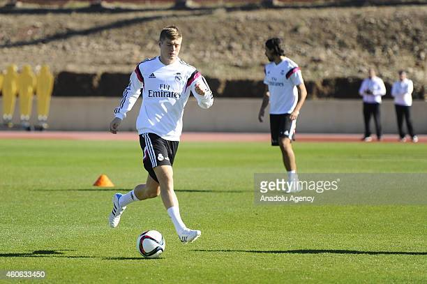 Toni Kross of Real Madrid trains ahead of final of the FIFA Club World Cup football match between Real Madrid and San Lorenzo to be played on...