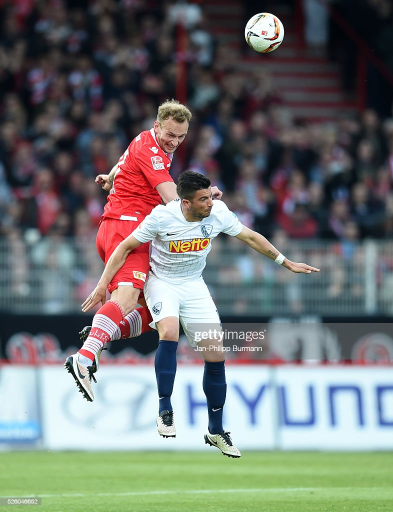 Toni Leistner of 1 FC Union Berlin and Marco Terrazzino of VFL Bochum during the game between Union Berlin and dem VfL Bochum on April 29, 2016 in Berlin, Germany.
