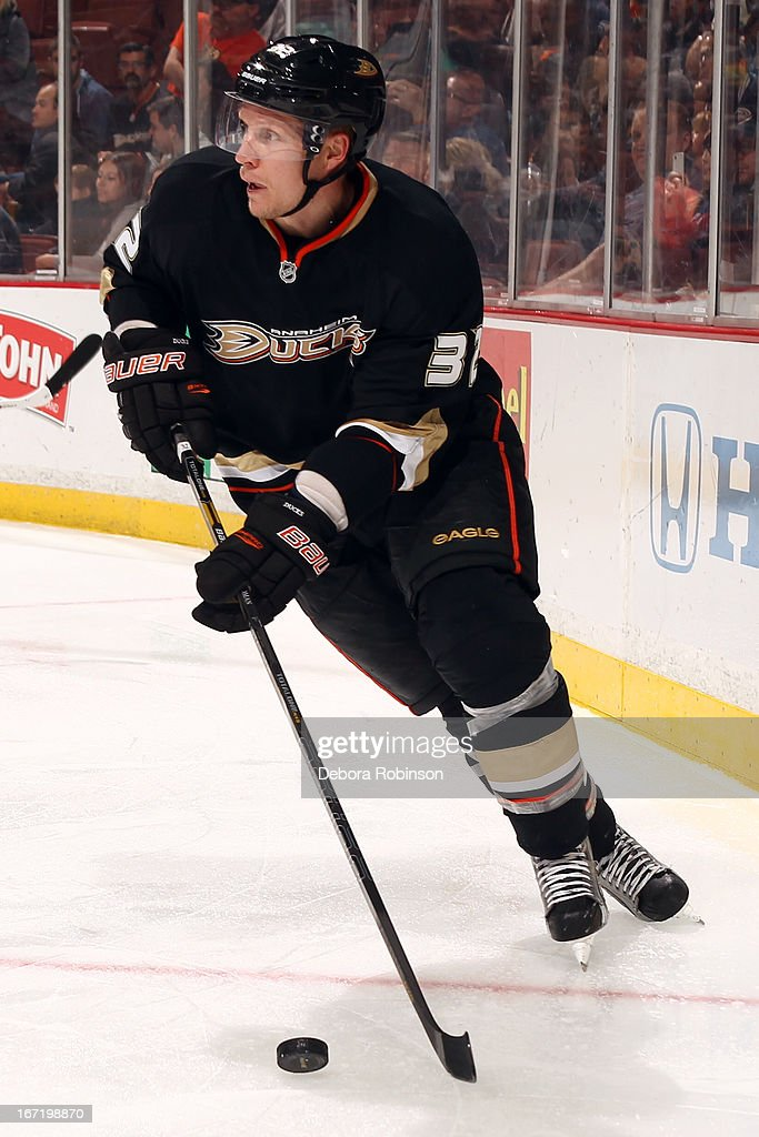 Toni Lydman #32 of the Anaheim Ducks handles the puck during the game against the Columbus Blue Jackets on April 17, 2013 at Honda Center in Anaheim, California.