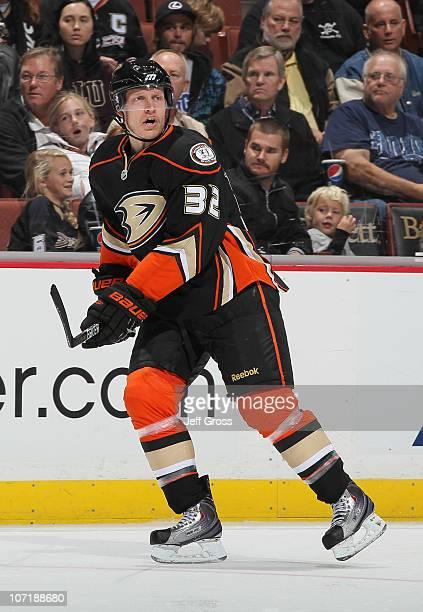Toni Lydman of the Anaheim Ducks skates against the Chicago Blackhawks at the Honda Center on November 26 2010 in Anaheim California