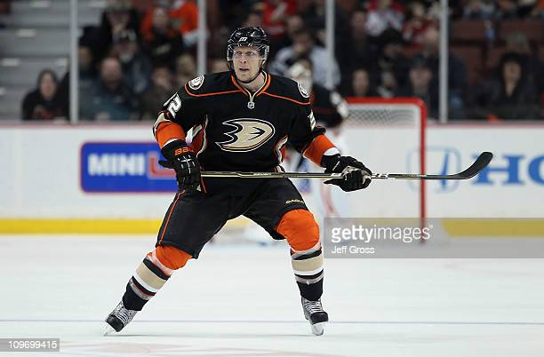 Toni Lydman of the Anaheim Ducks skates against the Washington Capitals at Honda Center on February 16 2011 in Anaheim California