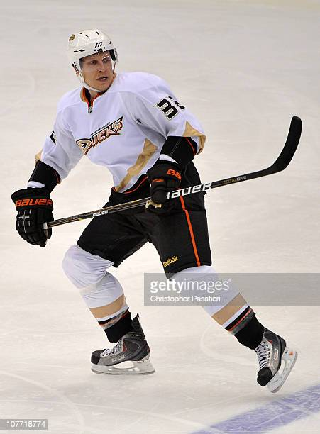 Toni Lydman of the Anaheim Ducks skates during the game against the New York Islanders at Nassau Coliseum on December 16 2010 in Uniondale New York