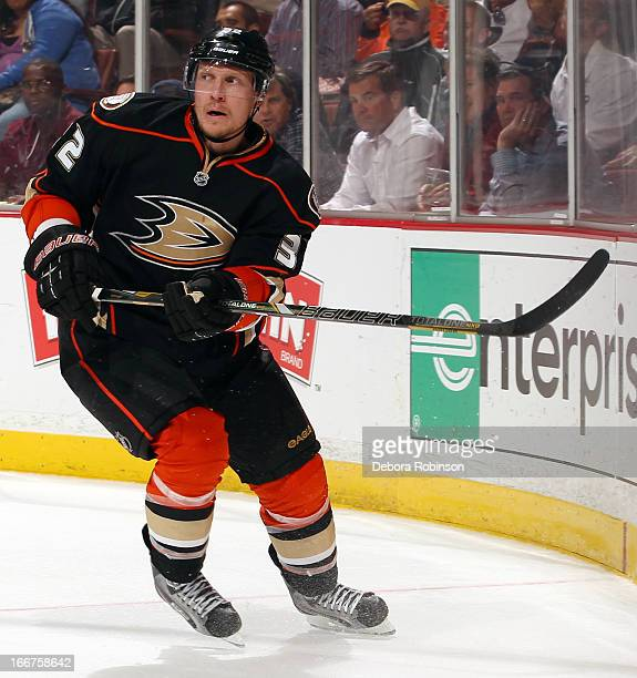 Toni Lydman of the Anaheim Ducks skates during the game against the Edmonton Oilers on April 8 2013 at Honda Center in Anaheim California