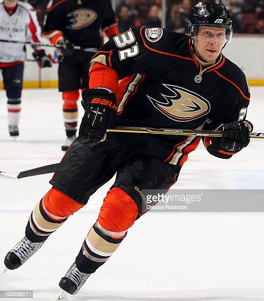 Toni Lydman of the Anaheim Ducks skates on the ice against the Washington Capitals during the game on February 16 2011 at Honda Center in Anaheim...