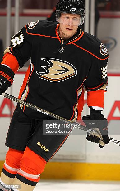 Toni Lydman of the Anaheim Ducks skates on the ice during warm ups prior to the game against the Calgary Flames at the Honda Center on December 10...