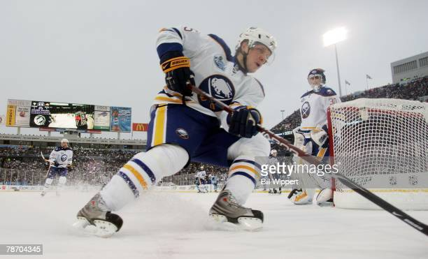 Toni Lydman of the Buffalo Sabres skates behind the net against the Pittsburgh Penguins in the NHL Winter Classic on January 1 2008 at Ralph Wilson...