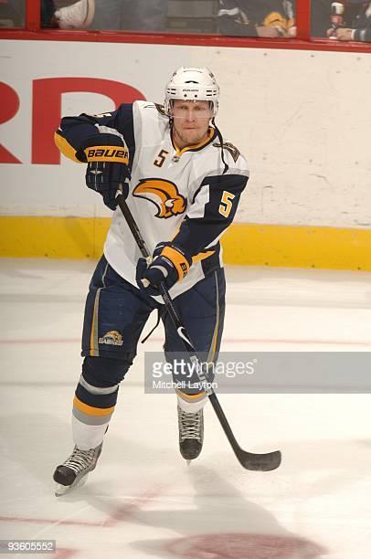 Toni Lydman of the Buffalo Sabres skates during warm ups of a NHL hockey game against the Washington Capitals on November 25 2009 at the Verizon...