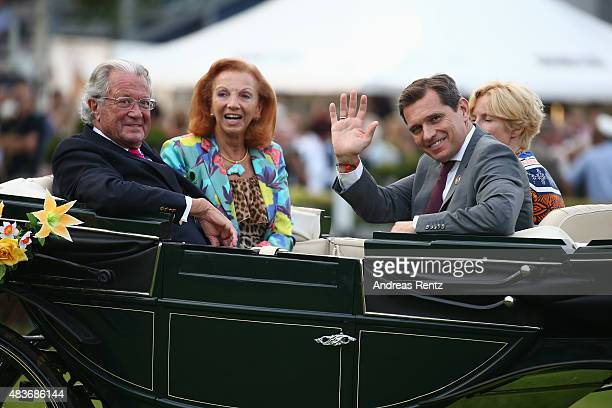 Toni Meggle with wife Marina Meggle Nadine Capellmann and Michael Mronz attend the FEI European Championship 2015 media night on August 11 2015 in...