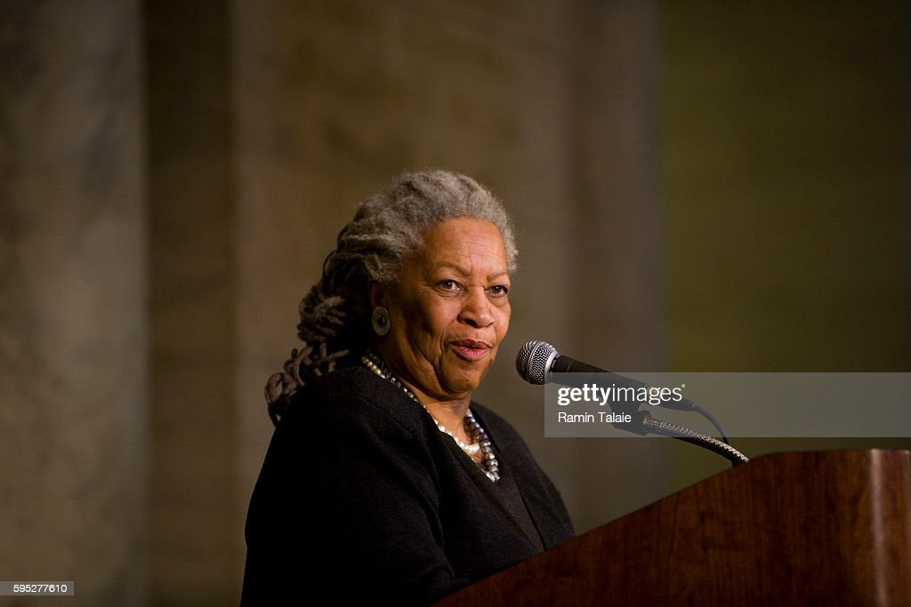 Toni Morrison author and Nobel laureate speaks during a news conference to announce a $100 million donation to the New York Public Library by Stephen...
