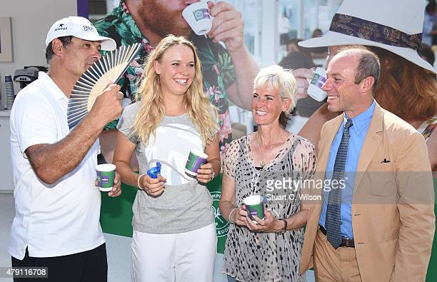 Toni Nadal Caroline Wozniacki Judy Murray and Guiseppe Lavazza keep cool before serving coffee to the queue at Wimbledon on July 1 2015 in London...