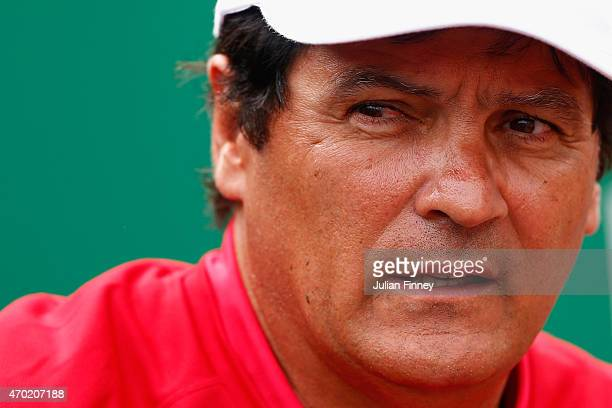 Toni Nadal uncle and coach of Rafael Nadal of Spain looks on against Novak Djokovic of Serbia in the semi finals during day seven of the Monte Carlo...