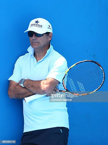 Toni Nadal watches Rafael Nadal of Spain in a practice session during day six of the 2015 Australian Open at Melbourne Park on January 24 2015 in...