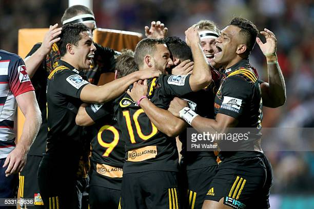 Toni Pulu of the Chiefs celebrates his try during the round 13 Super Rugby match between the Chiefs and the Rebels at FMG Stadium on May 21 2016 in...