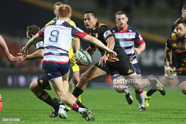 Toni Pulu of the Chiefs makes a break during the round 13 Super Rugby match between the Chiefs and the Rebels at FMG Stadium on May 21 2016 in...