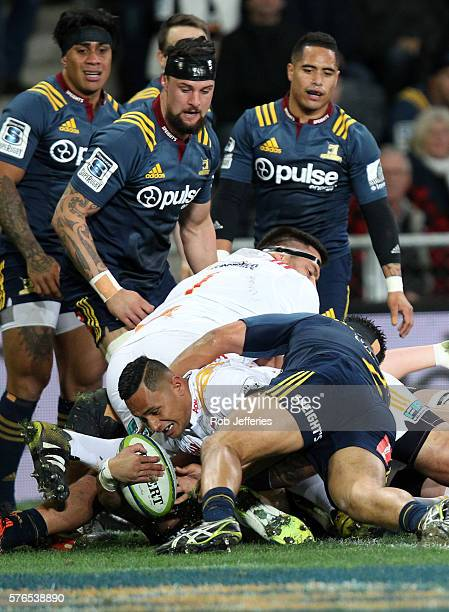 Toni Pulu of the Chiefs scores a try during the round 17 Super Rugby match between the Highlanders and the Chiefs at Forsyth Barr Stadium on July 16...