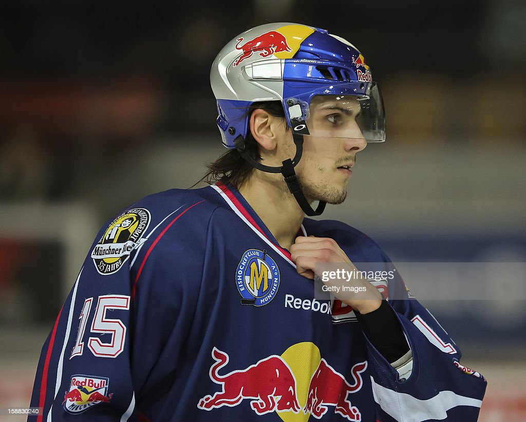 Toni Ritter of EHC Red Bull Muenchen during the DEL ice hockey game between Red Bull Muenchen and Hamburg Freezers at Olympia Eishalle on December 28, 2012 in Munich, Germany.