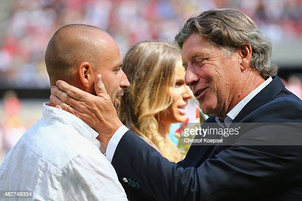 Toni Schmacher vicepresident of Koeln says farewqell to Miso Brecko prior to the Colonia Cup 2015 match between 1 FC Koeln and FC Valencia at...