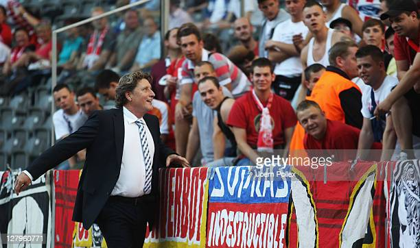 Toni Schumacher talks to the fans of Koeln prior to the Bundesliga match between Hertha BSC Berlin and 1 FC Koeln at Olympic Stadium on October 1...