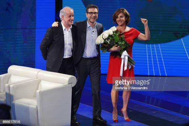 Toni Servillo Fabio Fazio and Carla Signoris attend 'Che Tempo Che Fa' tv show on April 9 2017 in Milan Italy