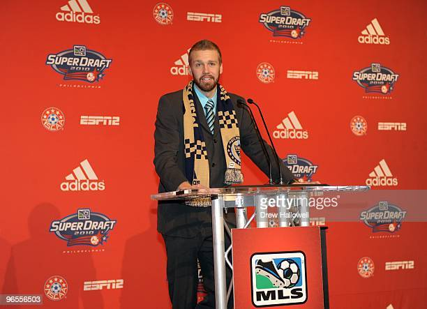 Toni Stahl stands at the podium after being selected by the Philadephia Union during the 2010 MLS SuperDraft on January 14 2010 at the Pennsylvania...