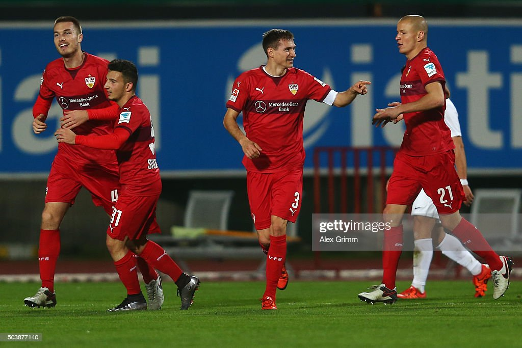 Toni Sunjic dss celebrates his team's second goal with team mates Arianit Ferati, Daniel Schwaab and Adam Hlousek (L-R) during a friendly match between VfB Stuttgart and Antalyaspor at Akdeniz Universitesi on January 7, 2016 in Antalya, Turkey.