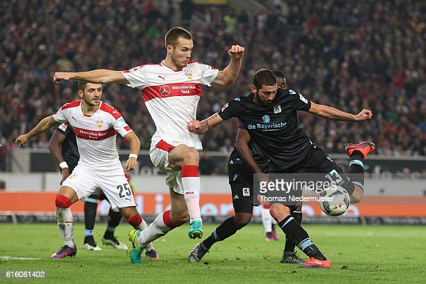 Toni Sunjic of Stuttgart fights for the ball with Sascha Moelders of Muenchen during the Second Bundesliga match between VfB Stuttgart and TSV 1860...