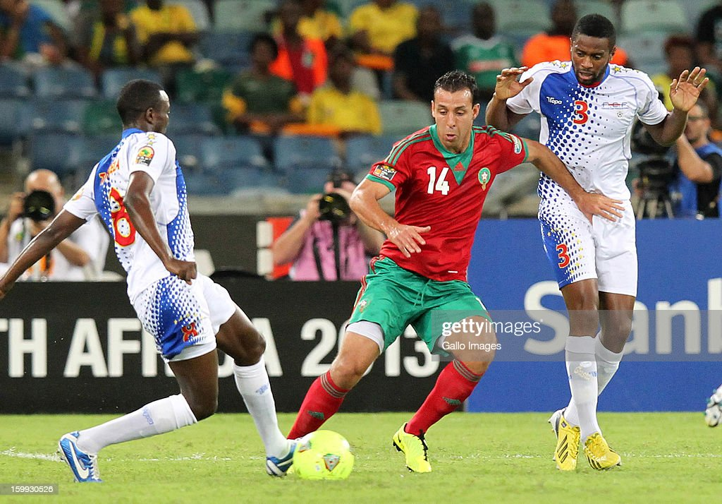 Toni Varela and Fernando Varela of Cape Verde in action against Mounir el Hamadaoui of Morocco during the 2013 African Cup of Nations match between Morocco and Cape Verde Islands from Moses Mabhida Stadium on January 23, 2012 in Durban, South Africa