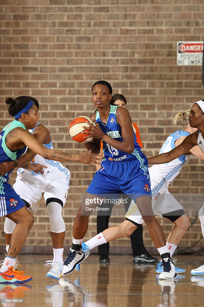<a gi-track='captionPersonalityLinkClicked' href=/galleries/search?phrase=Toni+Young&family=editorial&specificpeople=7543095 ng-click='$event.stopPropagation()'>Toni Young</a> #15 of the New York Liberty looks to pass during the pre-season game against the Chicago Sky on May 15, 2013 at the Jacoby D. Dickens Physical Education and Athletic Center on the campus of Chicago State University in Chicago, Illinois.