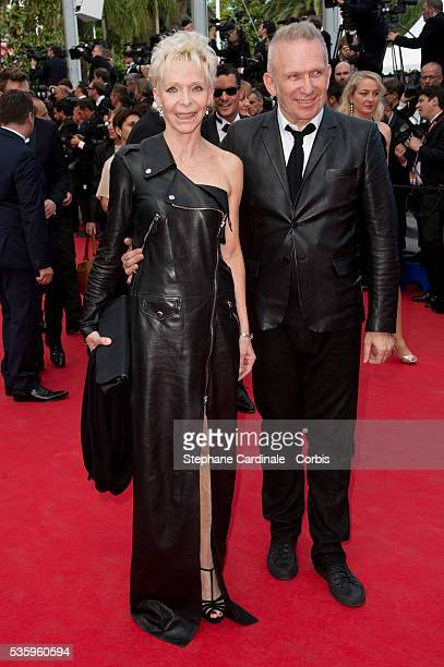 Tonie Marshall and Jean Paul Gaultier and Lara Micheli at the 'Saint Laurent' premiere during the 67th Cannes Film Festival