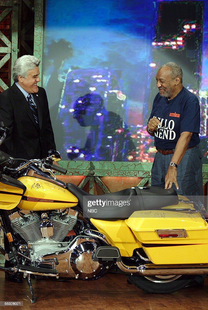 'Tonight Show' host <a gi-track='captionPersonalityLinkClicked' href=/galleries/search?phrase=Jay+Leno+-+Television+Host&family=editorial&specificpeople=156431 ng-click='$event.stopPropagation()'>Jay Leno</a> and comedian Bill Cosby laugh during a surprise visit by Cosby to sign a Harley-Davidson motorcycle that Leno is using to raise money for the victims of Hurricane Katrina at NBC studios September 9, 2005 in Burbank, California. Leno is having celebrity guests sign the motorcycle, which will be auctioned on eBay September 19. Harley-Davidson donated the bike.