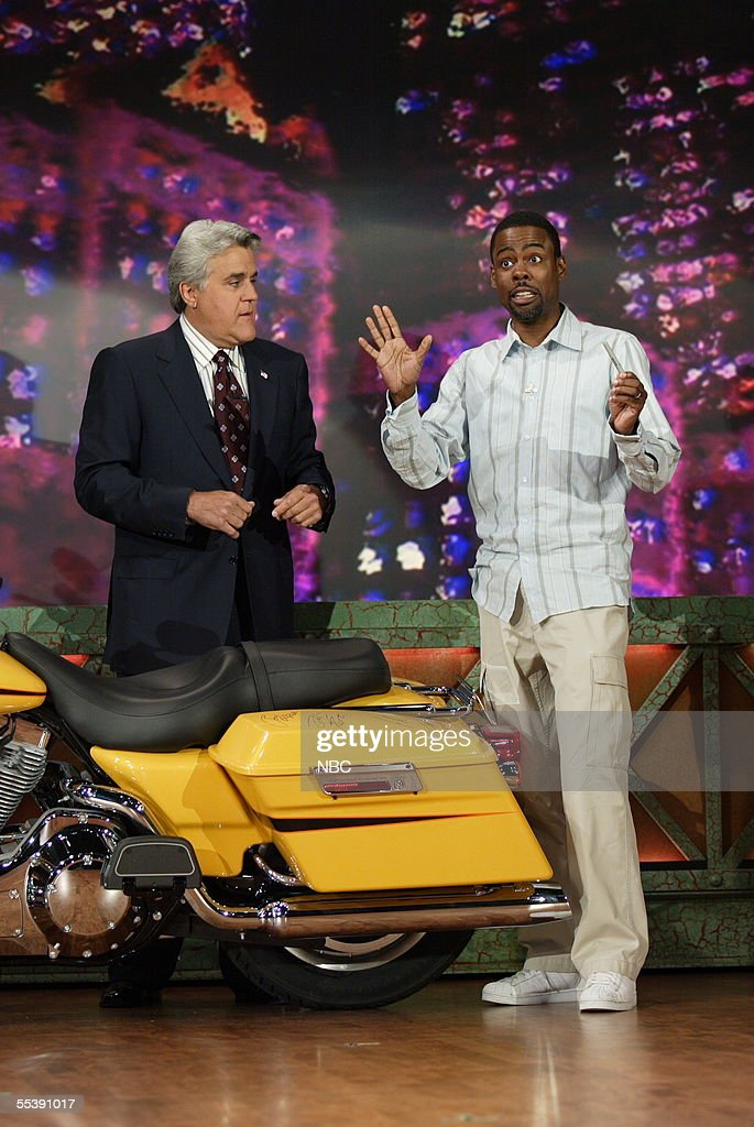 'Tonight Show' host <a gi-track='captionPersonalityLinkClicked' href=/galleries/search?phrase=Jay+Leno+-+Television+Host&family=editorial&specificpeople=156431 ng-click='$event.stopPropagation()'>Jay Leno</a> and comedian Chris Rock appear onstage to sign a Harley-Davidson motorcycle that Leno is using to raise money for the victims of Hurricane Katrina at NBC studios September 9, 2005 in Burbank, California. Leno is having celebrity guests sign the motorcycle, which will be auctioned on eBay September 19. Harley-Davidson donated the bike.